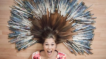 Studio Owner with paintbrush hair