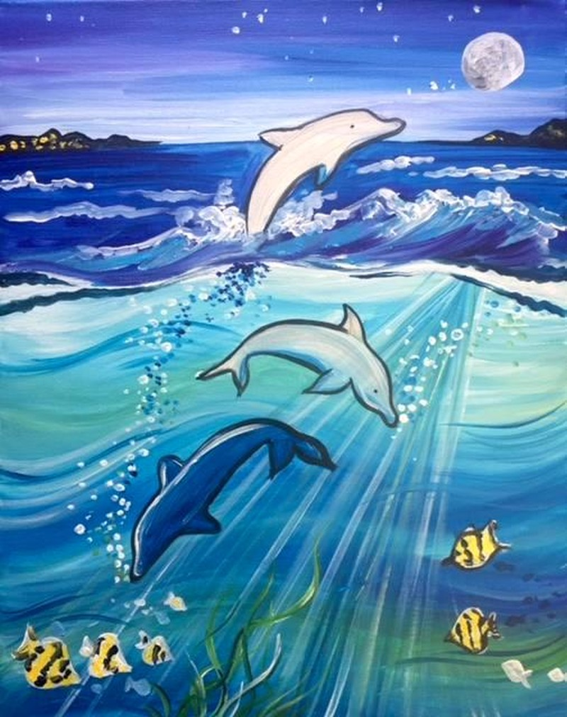 Dolphins at Sea: Kit WITH Brushes