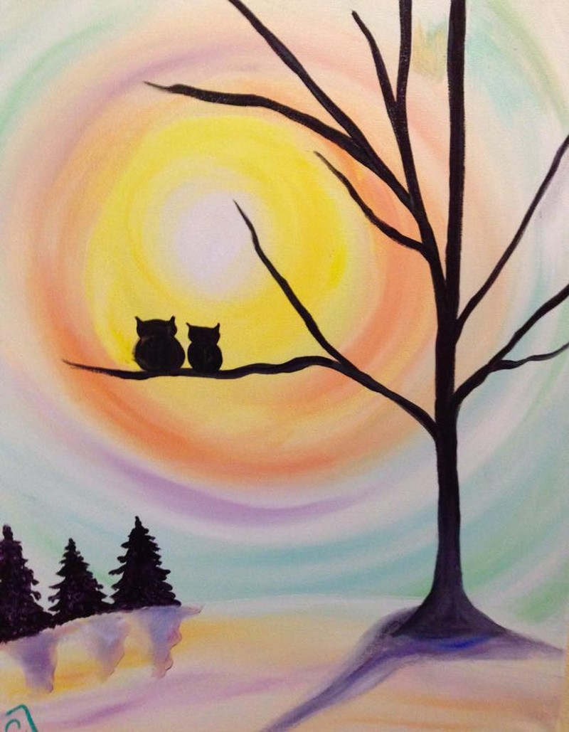 IN-STUDIO: ALL AGES - Moonlit Owls - 16x20 Acrylic on Canvas