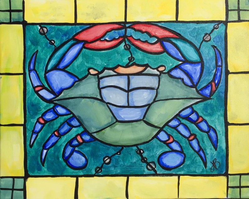IN STUDIO: Stained Glass Crab Painting II
