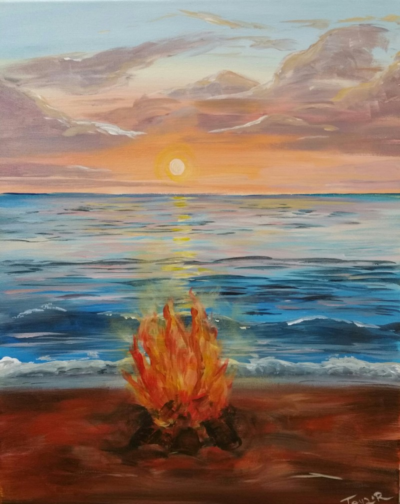 Beach Bonfire | LIVE Virtual Class Via Zoom | Paint Kit Included for pickup 4-6PM