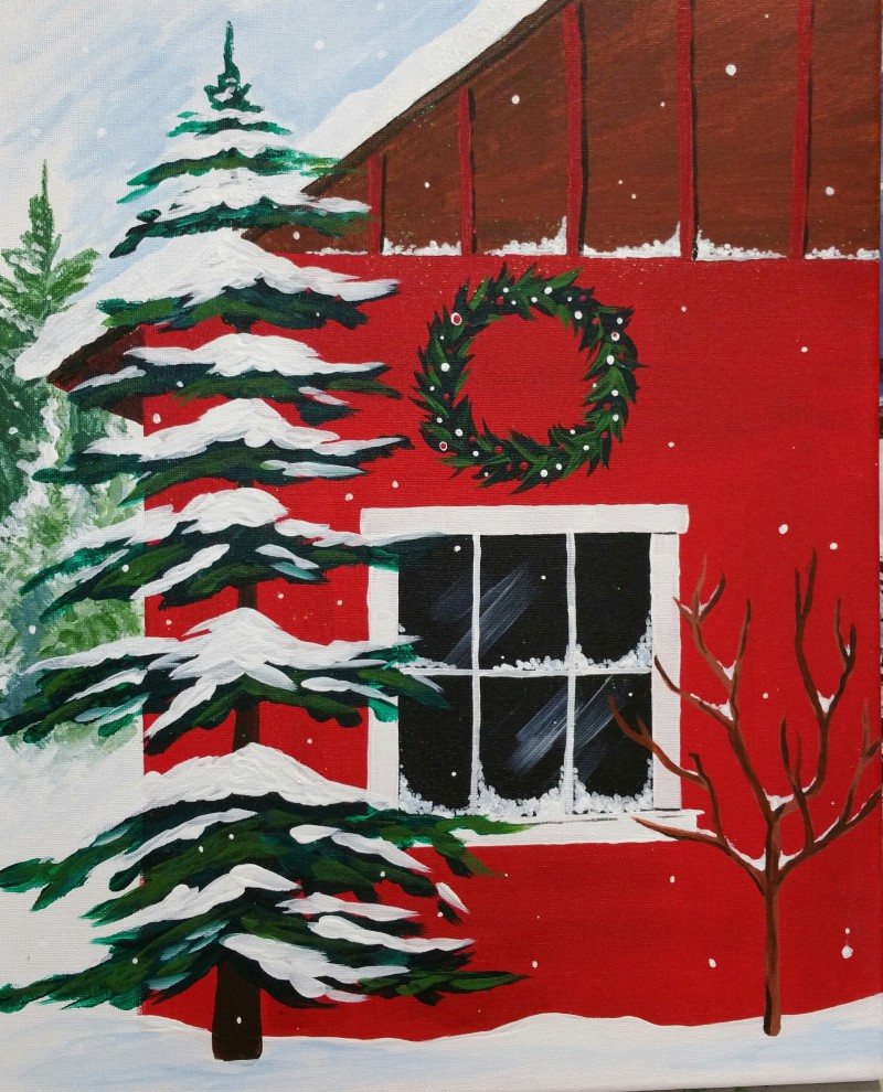 Green Free Library Event Red Barn in Snow