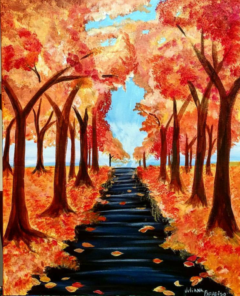 IN-STUDIO: Fall Walk - 16x20 Acrylic on Canvas