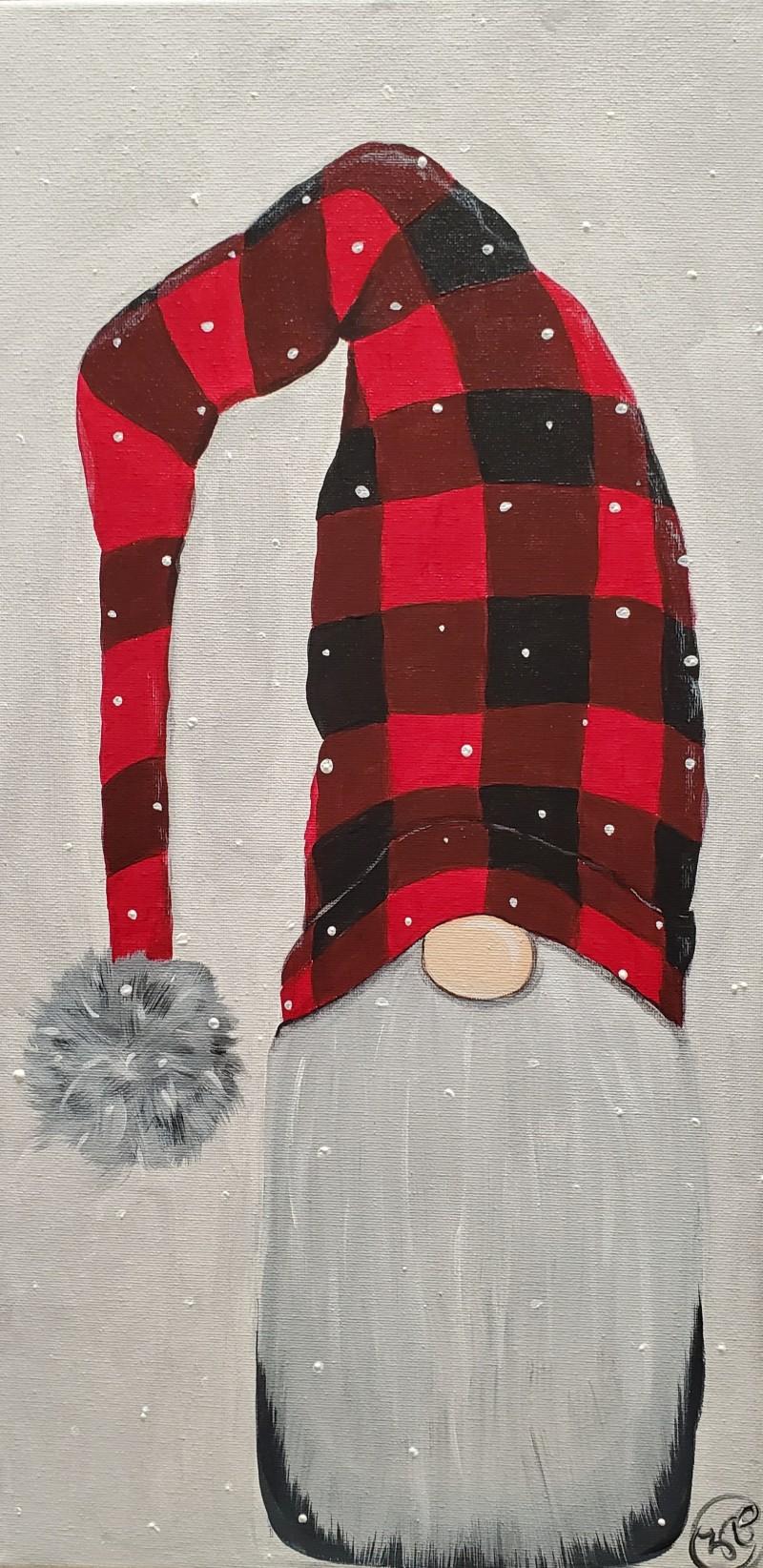 LIVE Virtual Class - Winter Gnome - Acrylic on 10x20 Canvas