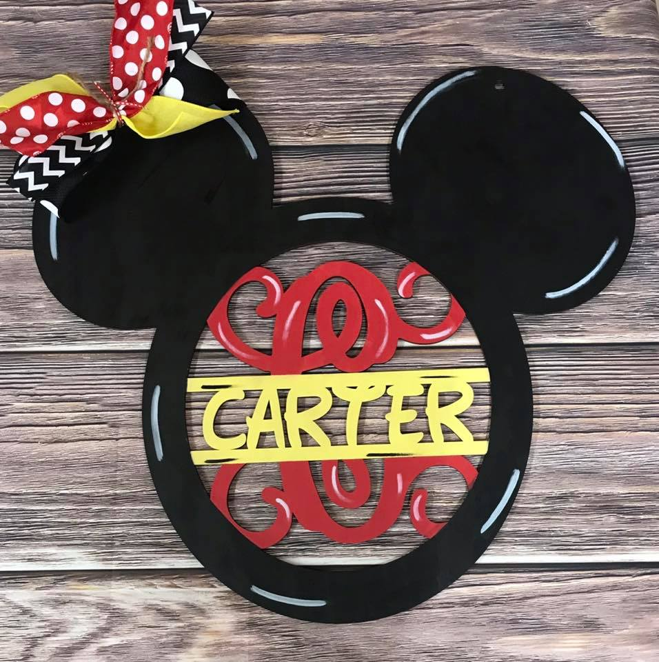 PREORDER | Mouse Inspired Wooden Door Hanger with Name