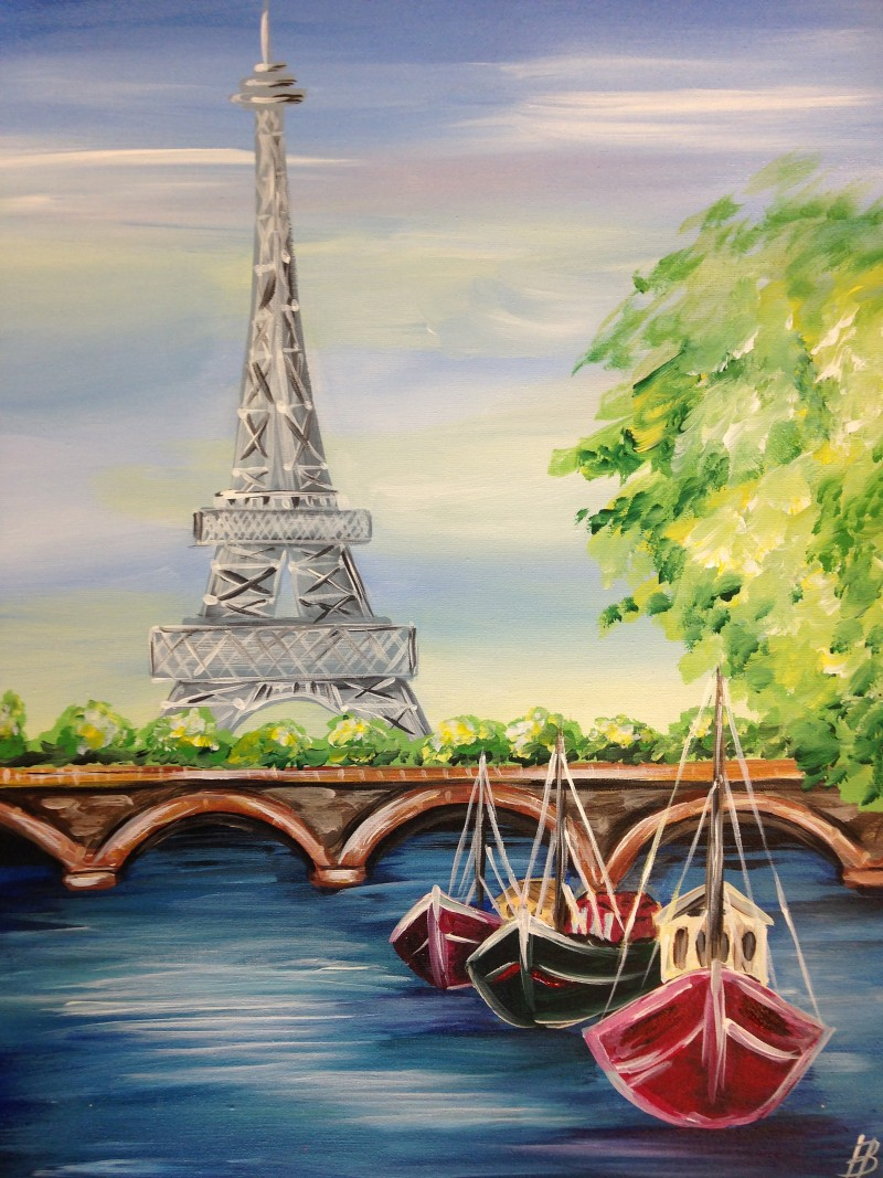 """LIVE Virtual """"Eiffel Tower"""" Painting Class 
