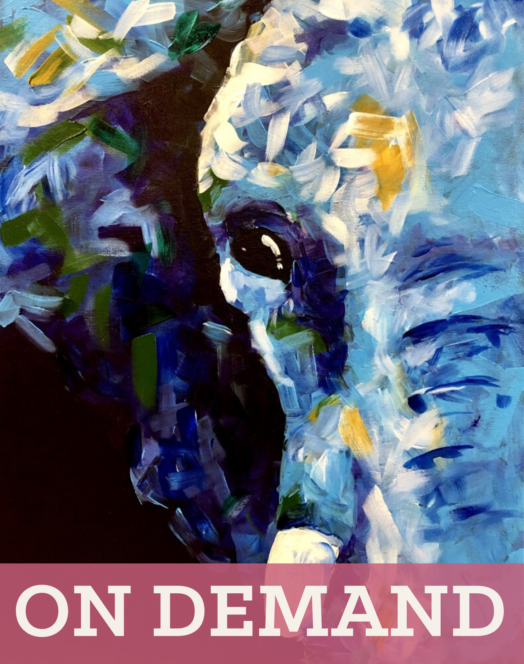 Abstract Elephant Pre-Recorded Virtual Class and Paint Kit (Pickup Friday 4-6PM)