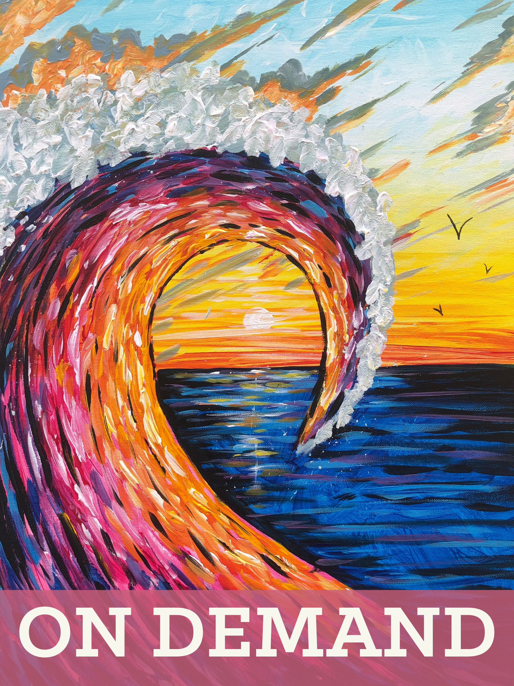 Sunset Wave On Demand Art Class and Paint Kit! (Curbside Pickup Friday 4-6PM)