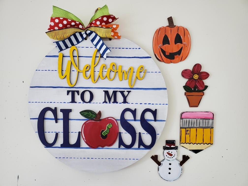 """IN STUDIO DIY Workshop!  22"""" Welcome To My Class Interchange Door Hanger with 5 Pieces"""