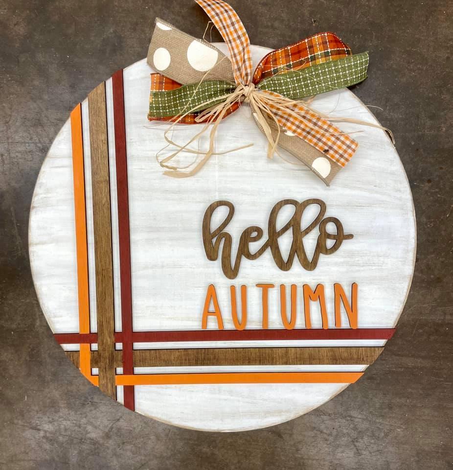 """22"""" Hello Autumn Wooden Door Hanger with Decorative Ribbon"""