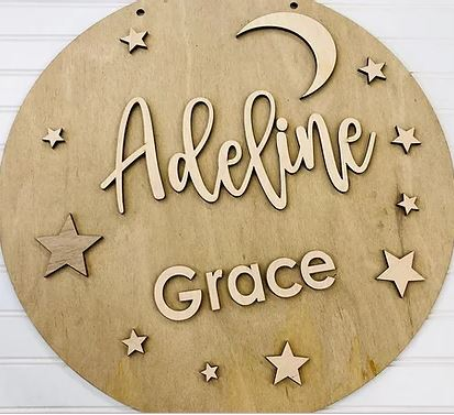 Moon and Stars Personalized Name Sign