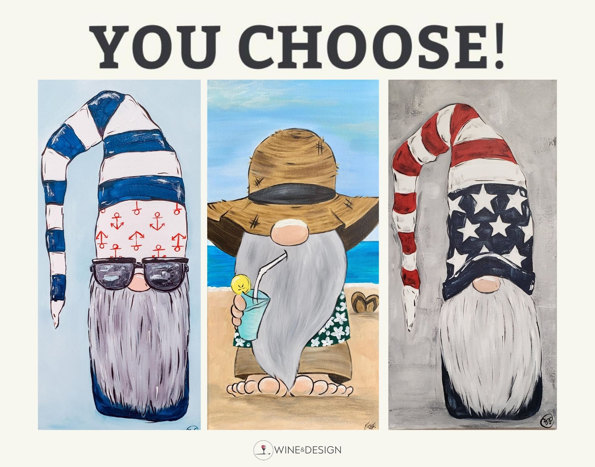 ON WHEELS at Rick's   You Choose Gnomes: Nautical, Best Life or Patriotic