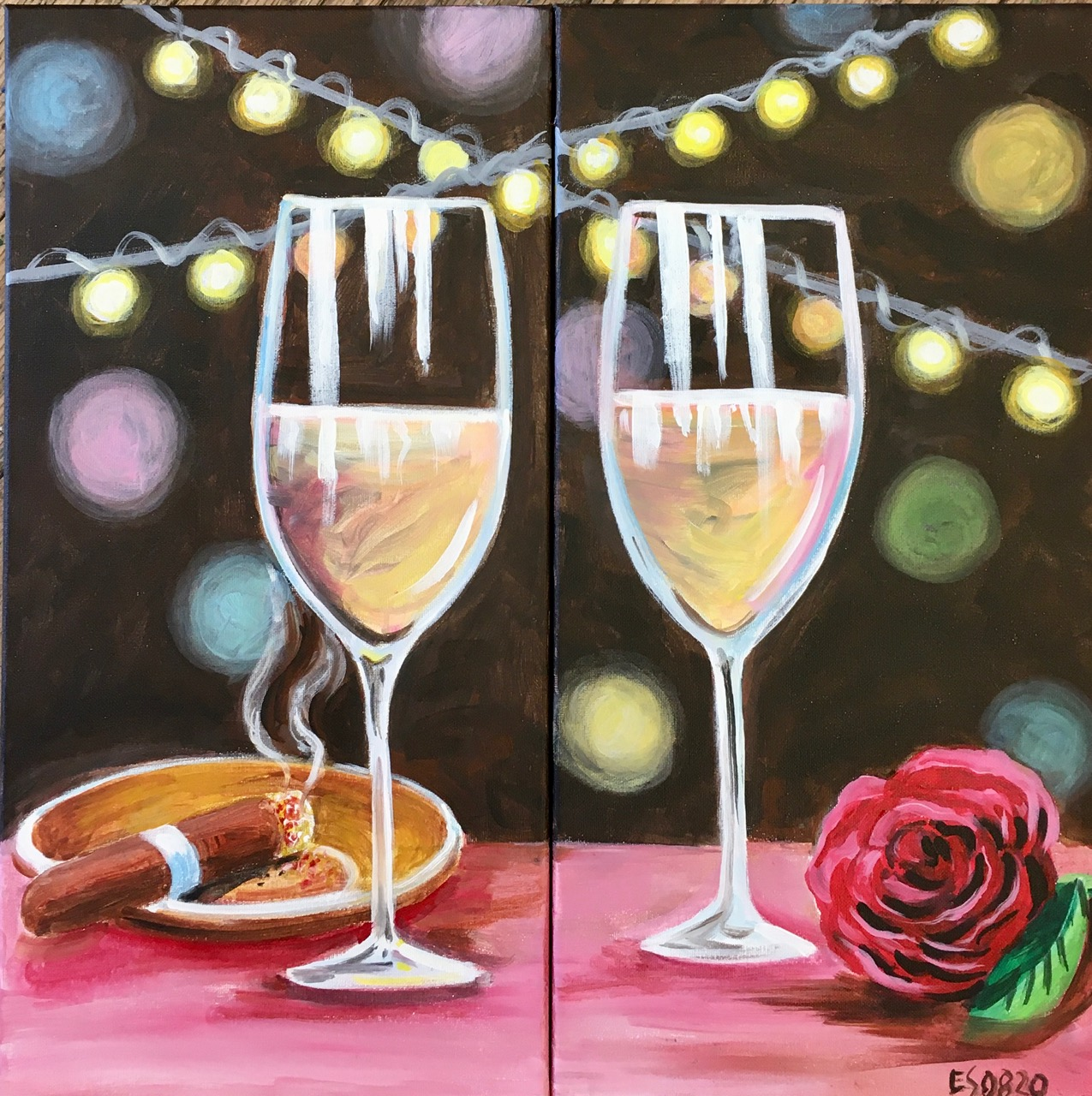 Wine & Design @ Avian Glen Winery - Cigars & Roses (DIPTYCH)