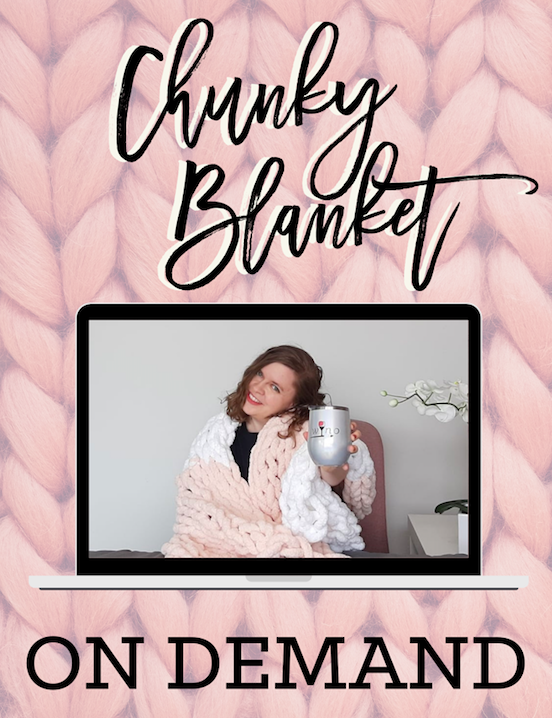 Virtual Chunky Blanket On Demand! Includes Video Recording + 5 Skeins of Yarn! Pick-Up Yarn between 2:00-6:00pm