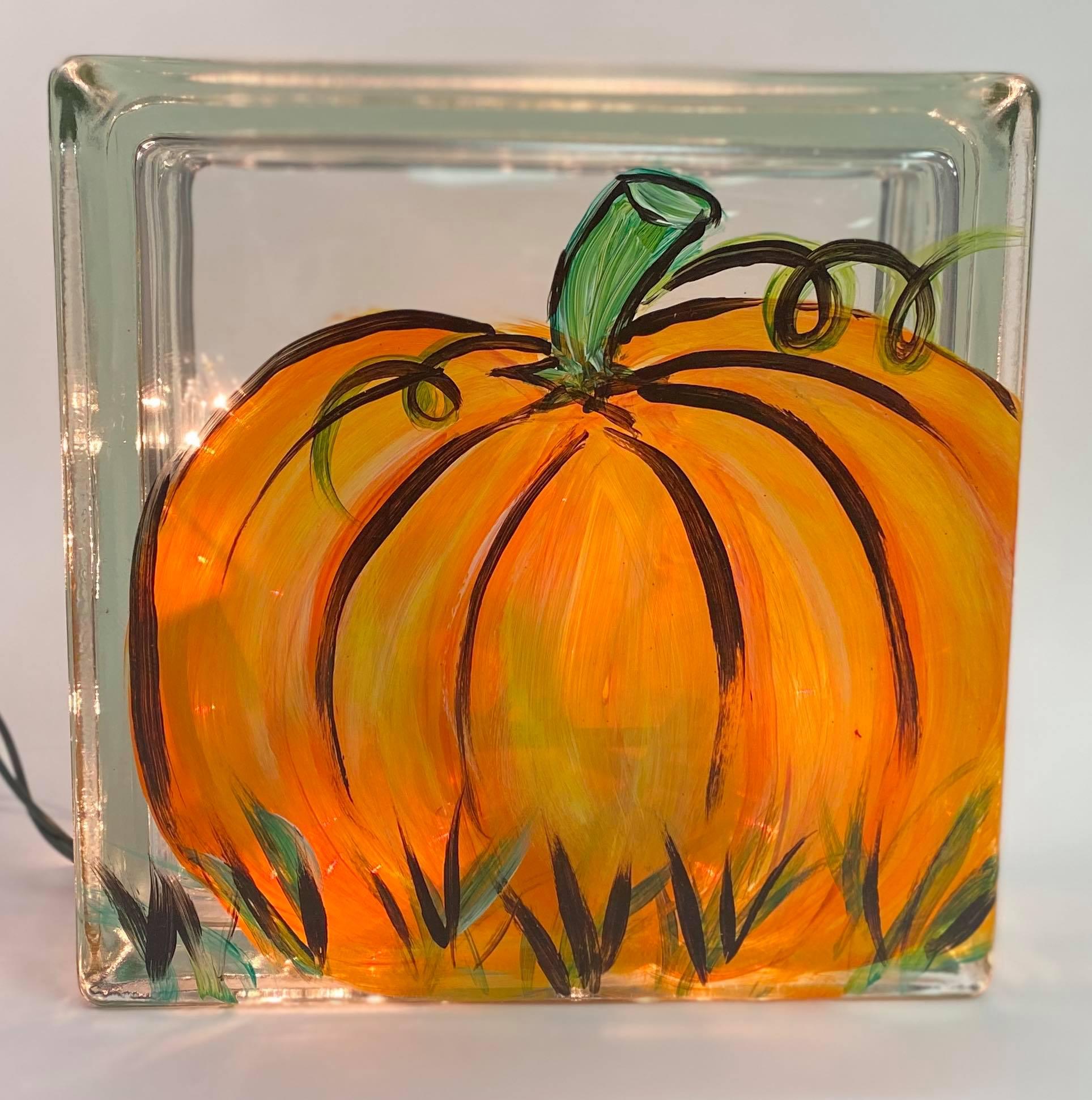 Glass Pumpkin with Lights