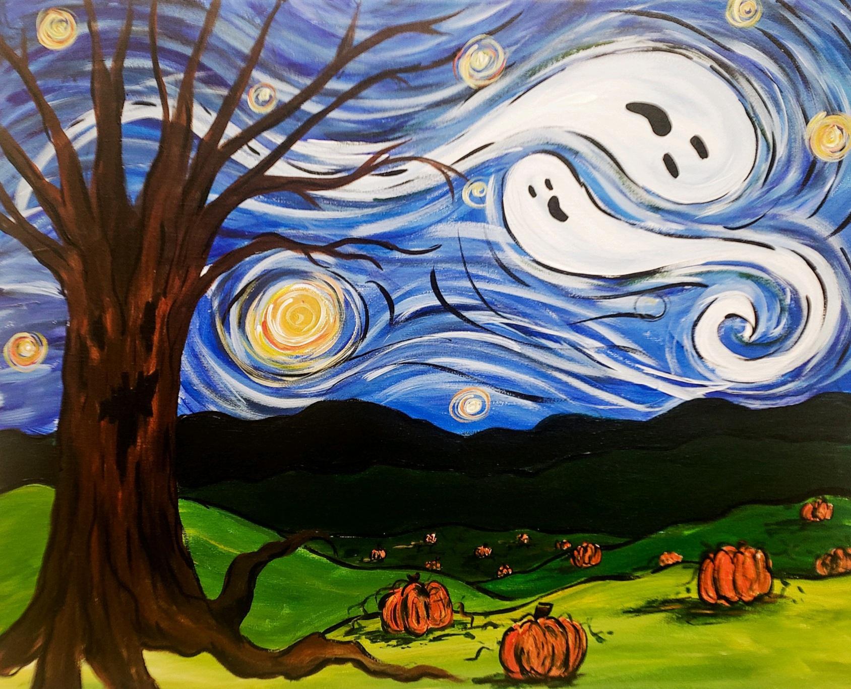 IN-STUDIO: Starry Halloween Night - 16x20 Acrylic on Canvas