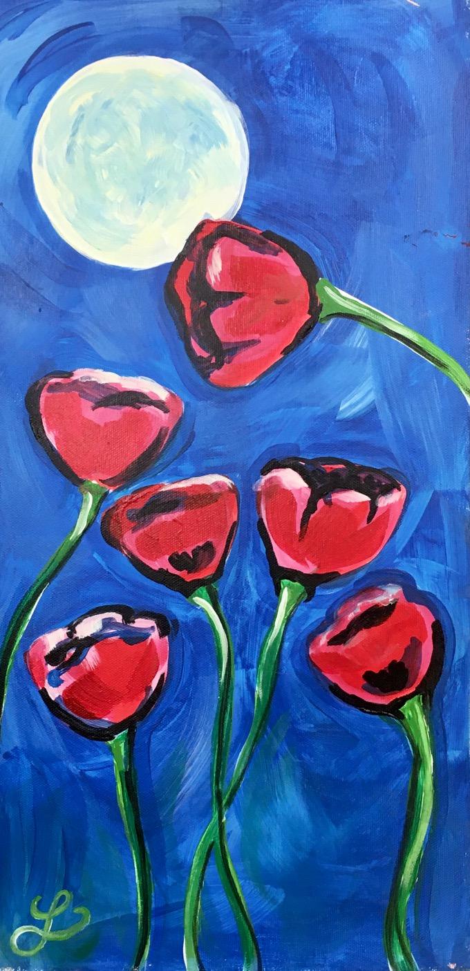 IN-STUDIO: Moonlit Poppies Acrylic on 10x20 canvas