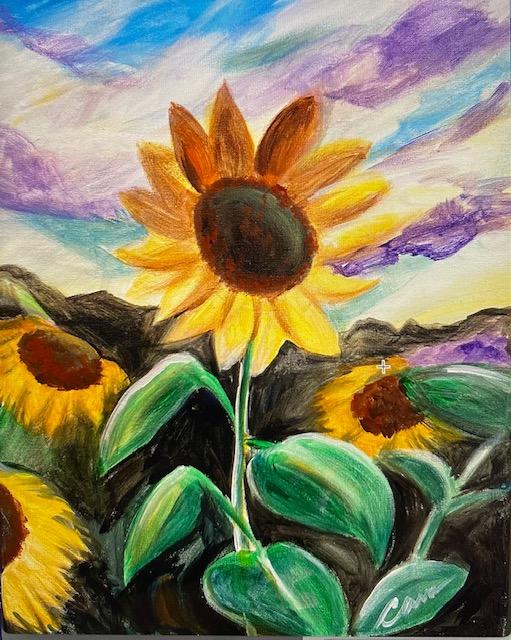 IN STUDIO: Sunflower Sky - 16x20 Acrylic on Canvas