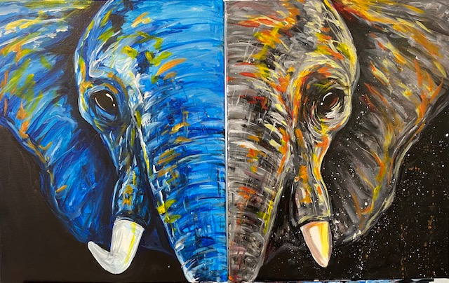 NEW Date Night: Abstract Elephant - In Studio Class