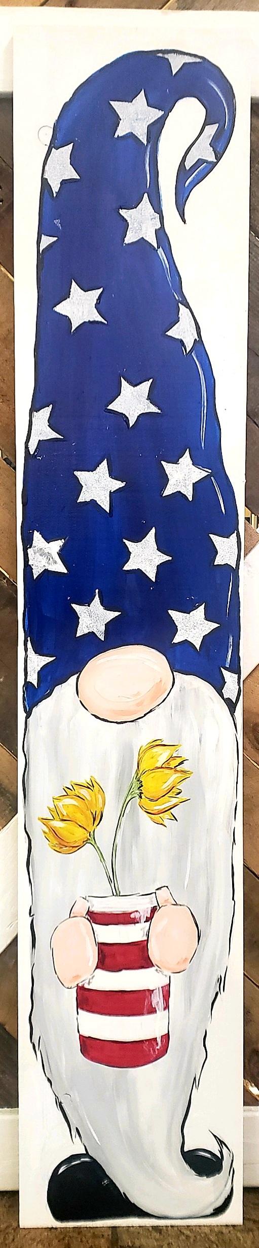 Patriotic Gnome Painted Leaner
