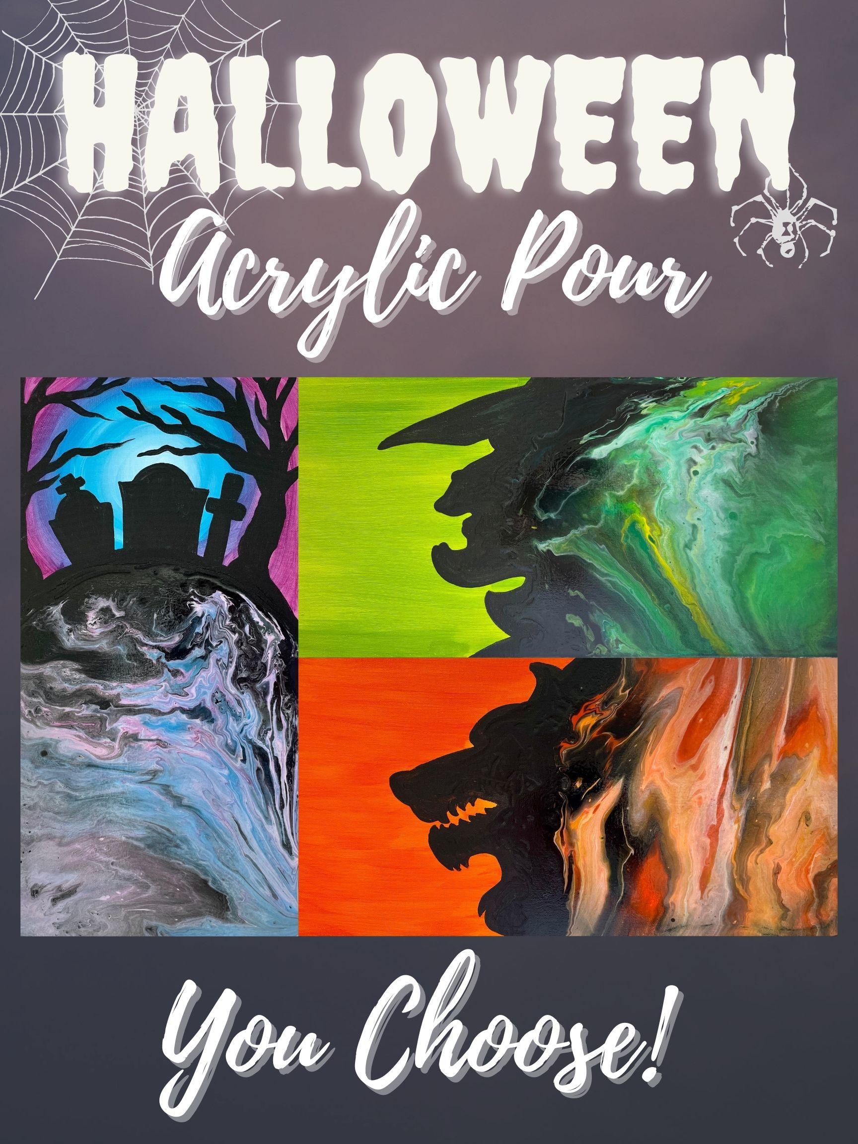 Halloween Acrylic Pour Class!