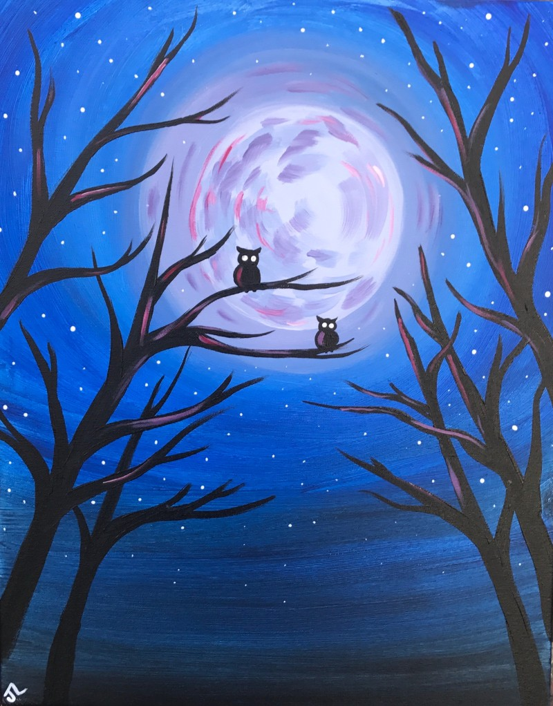 IN-STUDIO: ALL AGES  - Midnight Owls - 16x20 Acrylic on Canvas