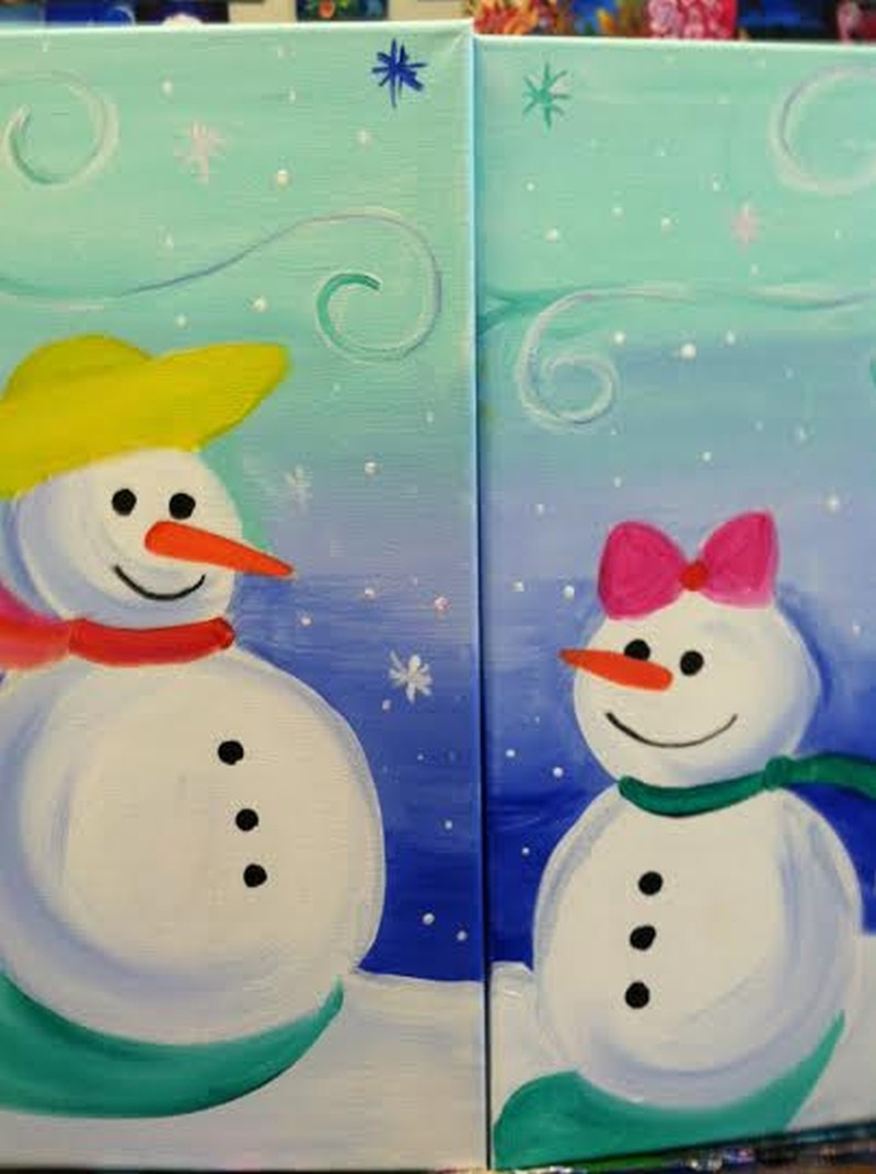 Mom & Me Snowmen - Price Includes BOTH canvases