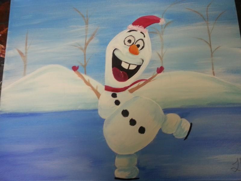 IN-STUDIO: Happy Snowman - 16x20 Acrylic on Canvas