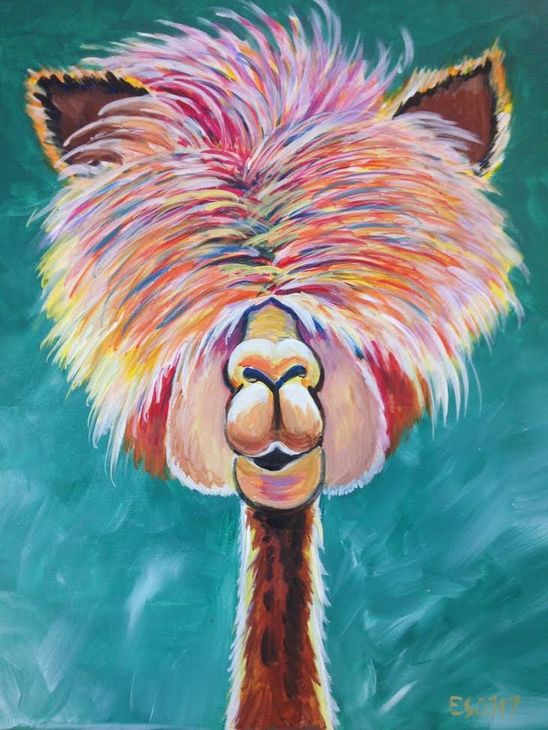 ALLIE THE ALPACA | VIRTUAL PAINT CLASS WITH PAINT KIT | 10:00PM EST | PAINT KIT PICK UP 8/12 2PM-5PM