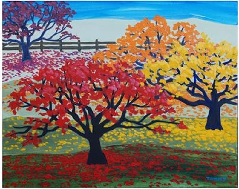 IN-STUDIO: Autumn Trees - 16x20 Acrylic on Canvas