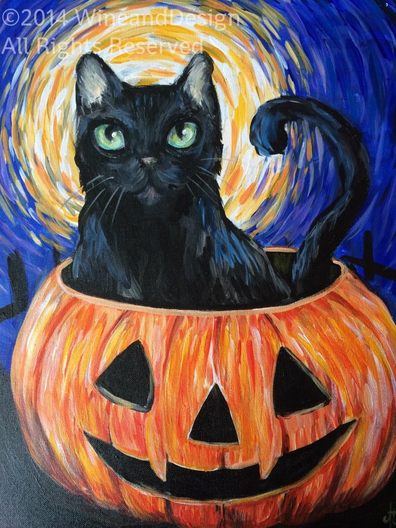 Starry Night Halloween Kitty - In Studio Class