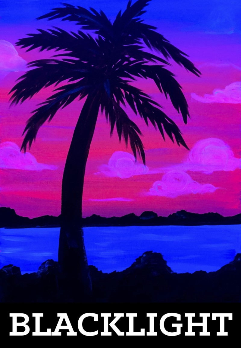 Blacklight Palm Tree-All Ages Welcome
