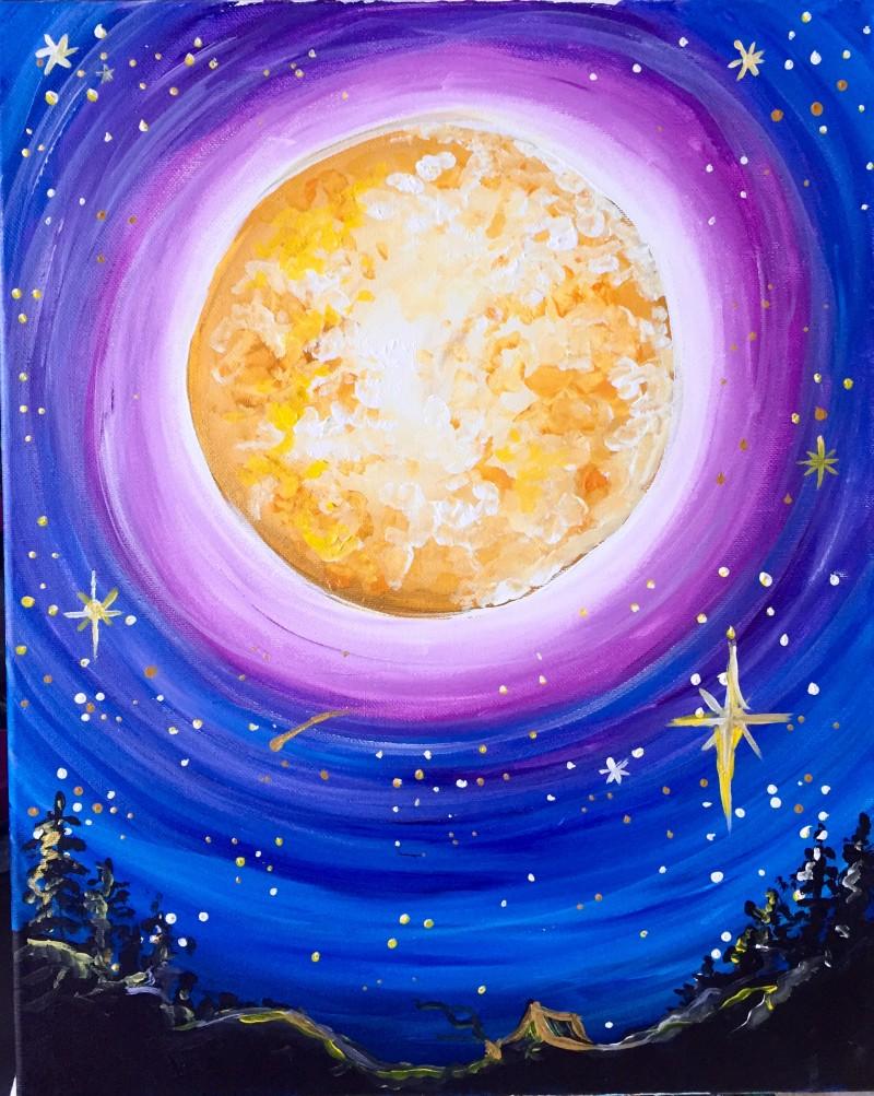 IN STUDIO: Bright Moon 16x20 Acrylic on Canvas
