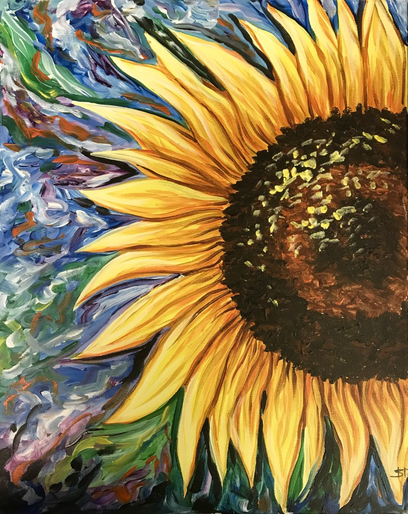 """PAINT FOR BREAST CANCER AWARENESS! """"Bright Sunflower"""" 3:00-5:00pm"""