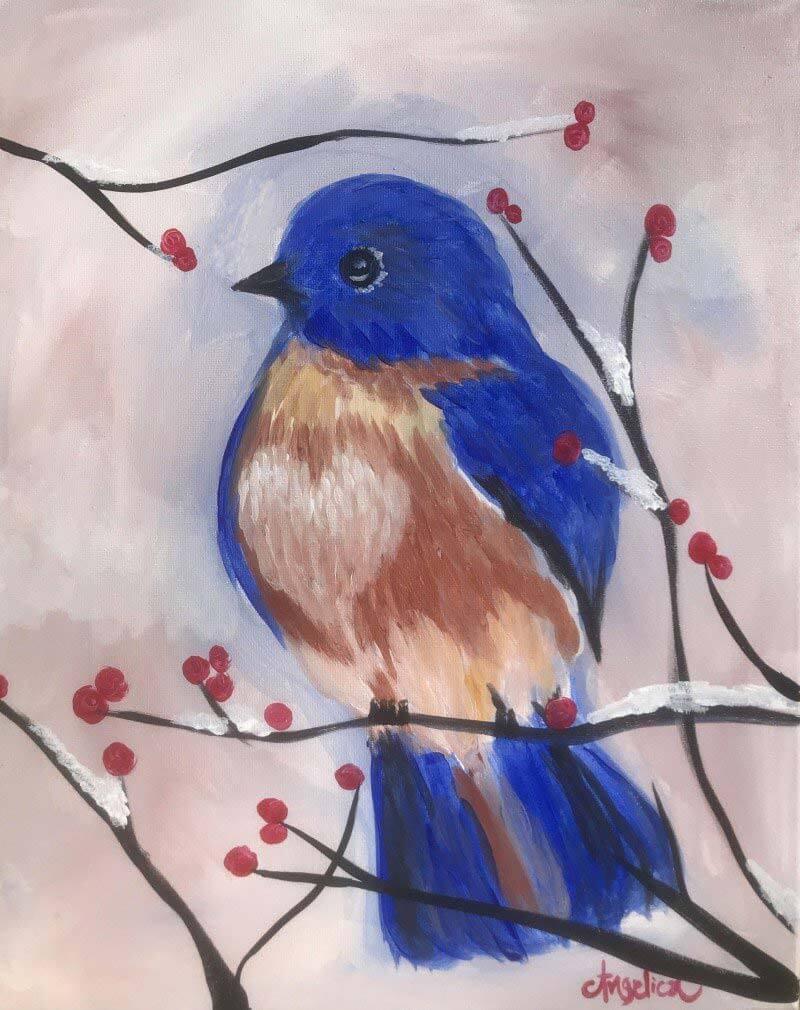 LIVE Virtual Class - Copper Blue Bird - Acrylic on Canvas