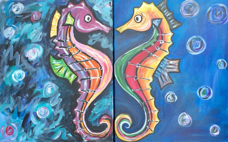 SEAHORSE DATE NIGHT (TWO CANVASES) | VIRTUAL PAINT CLASS WITH PAINT KIT | 7:00PM EST | PAINT KIT PICK UP 8/21 2PM-5PM