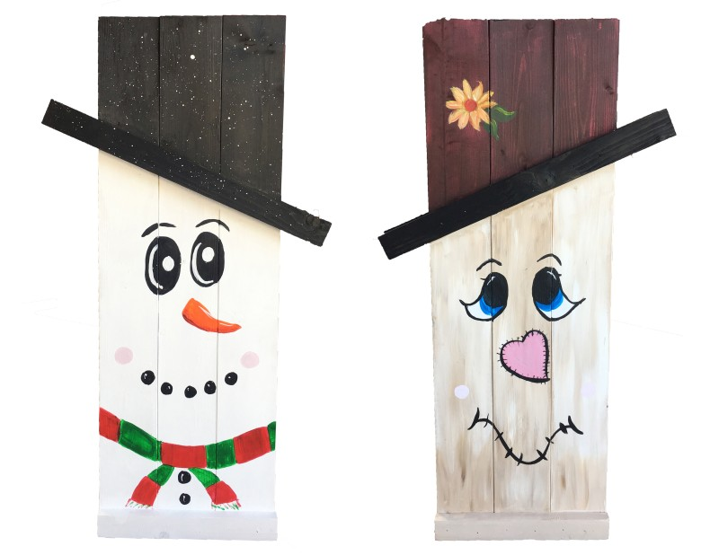Scarecrow/Snowman Reversible Wood Decor at So Cal PIzza