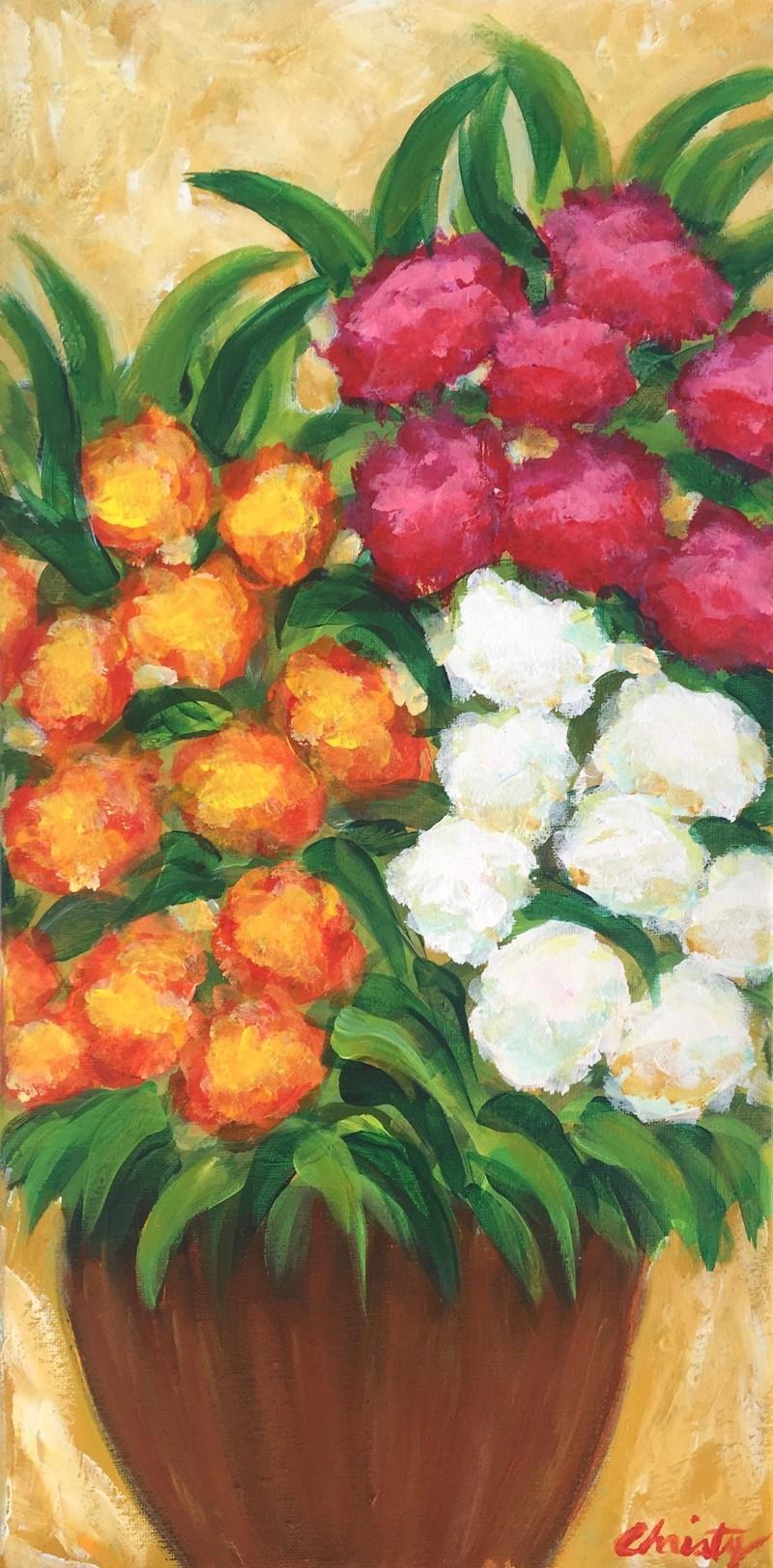 IN-STUDIO: Fall Mums - 10x20 Acrylic on Canvas