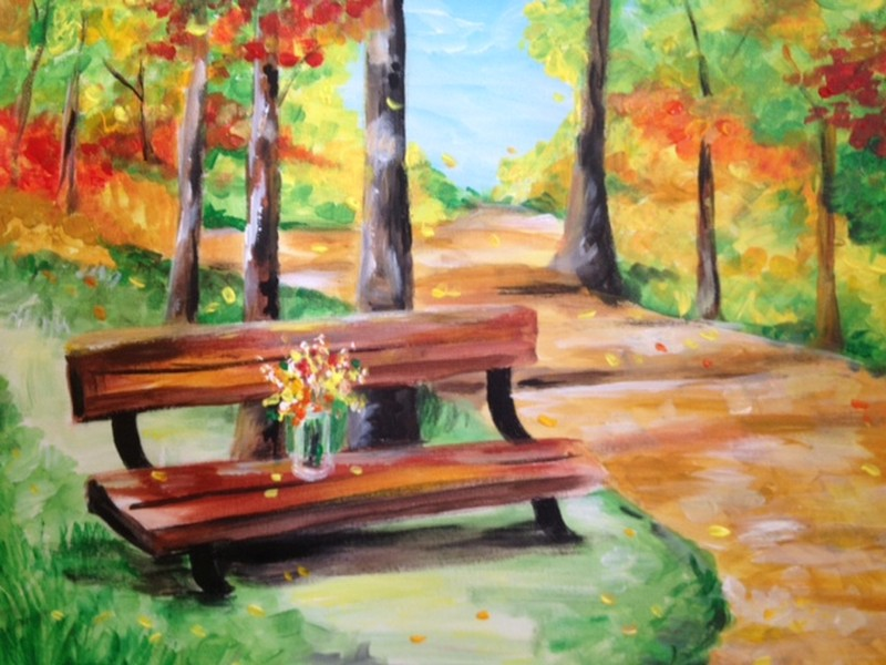 Virtual Class Fall Park Bench