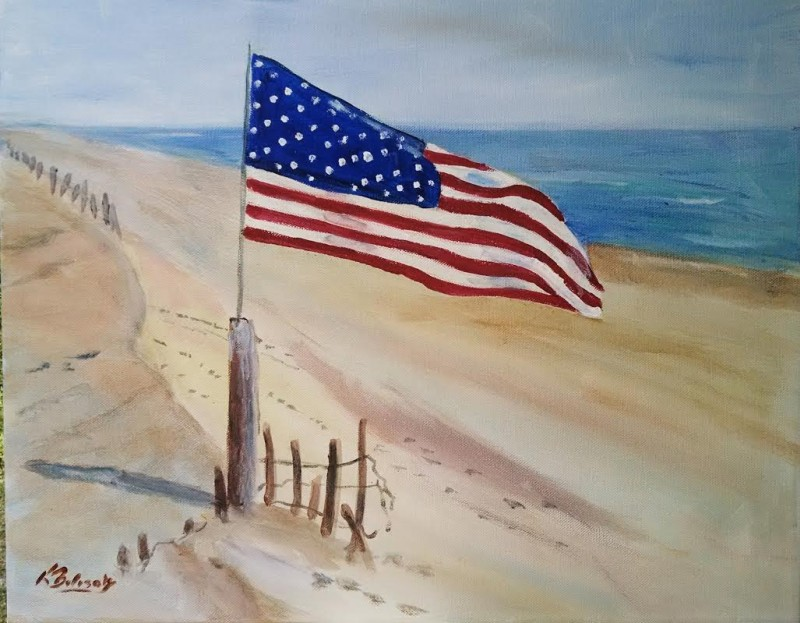 LIVE Virtual Class - Flag on the Beach - Acrylic on Canvas