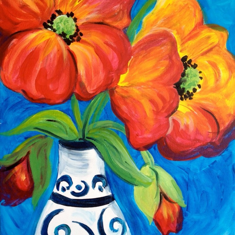 POPPIES | VIRTUAL PAINT CLASS WITH PAINT KIT | 6:30PM EST | PAINT KIT PICK UP 8/12 2PM-5PM