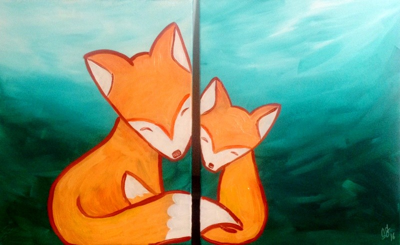 LIVE Virtual Class - Parent & Me Fox Pair - Acrylic on Canvas