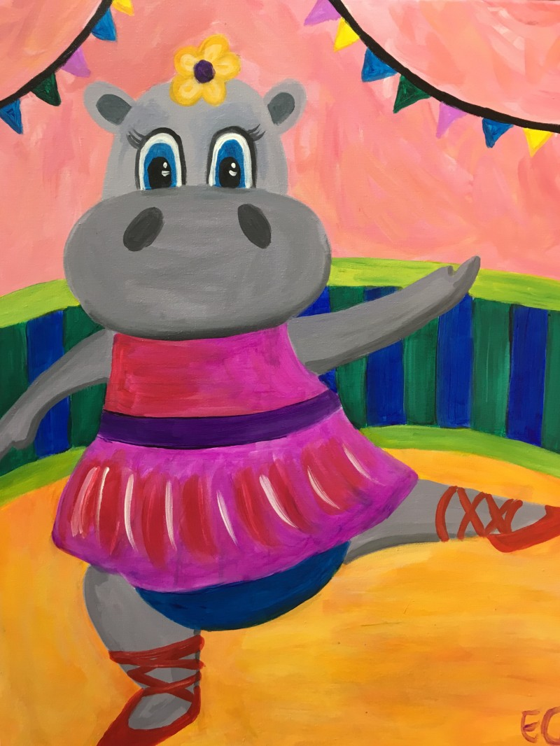 Dancing Hippo- TAKE HOME PAINT KIT - - ORDER TODAY! CURB SIDE PICK UP TOMORROW 2PM-5PM!