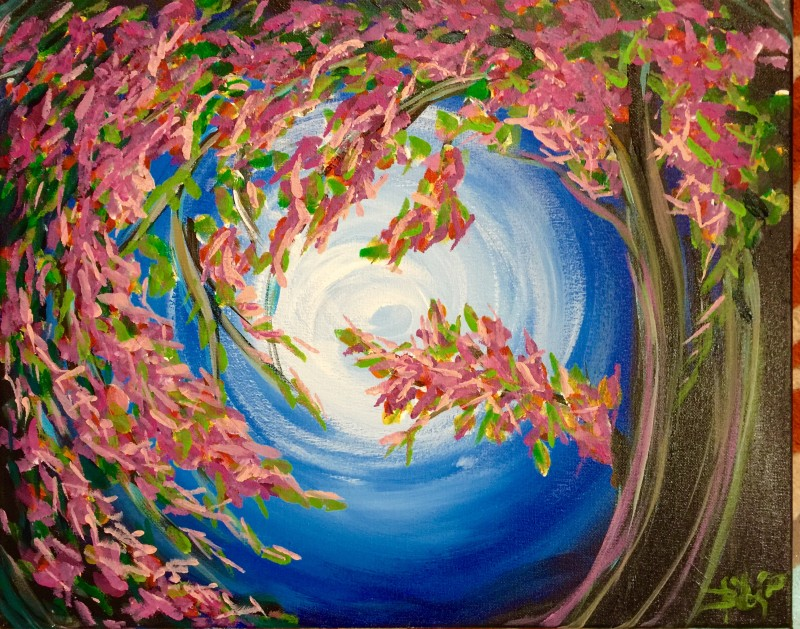 IN-STUDIO: Spring Night Blossom 16x20 Acrylic on Canvas