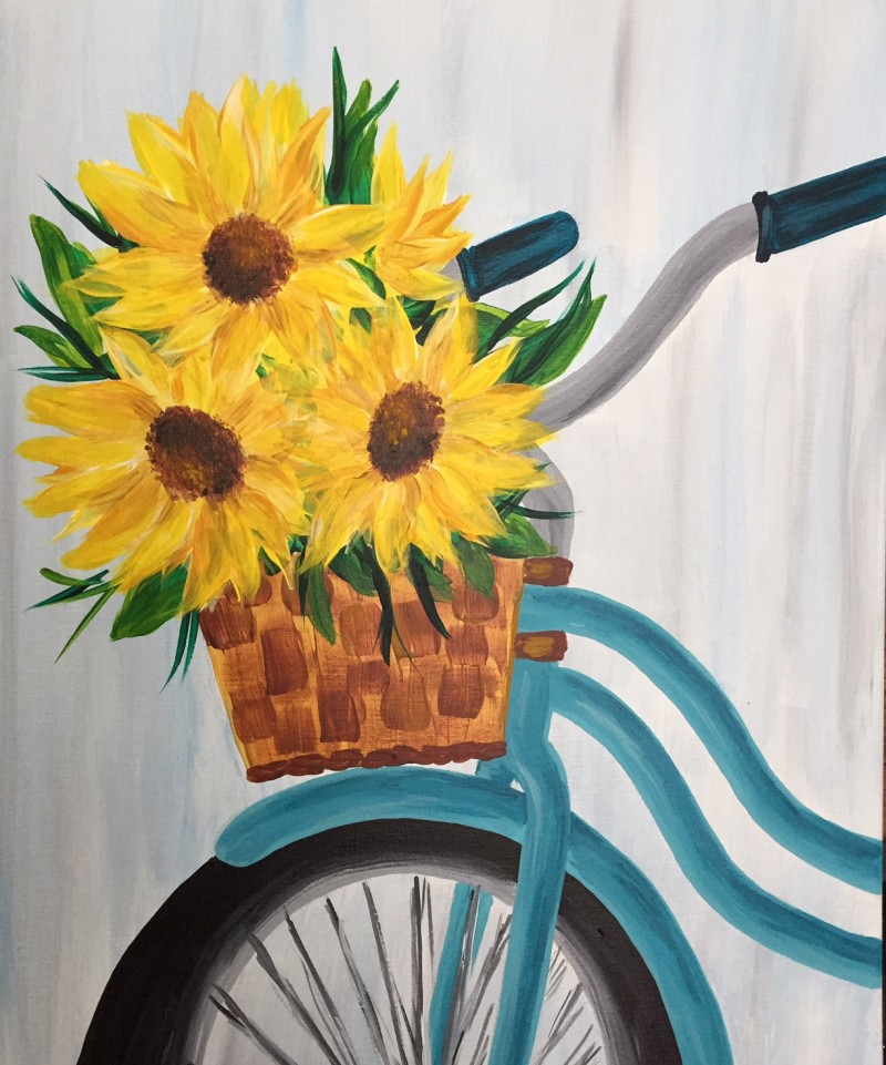SUNFLOWER RIDE | VIRTUAL PAINT CLASS WITH PAINT KIT | 7:00PM EST | PAINT KIT PICK UP 7/15 2PM-5PM