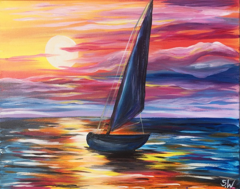 COLORFUL SAIL | VIRTUAL PAINT CLASS WITH PAINT KIT | 7:00PM EST | PAINT KIT PICK UP 7/15 2PM-5PM