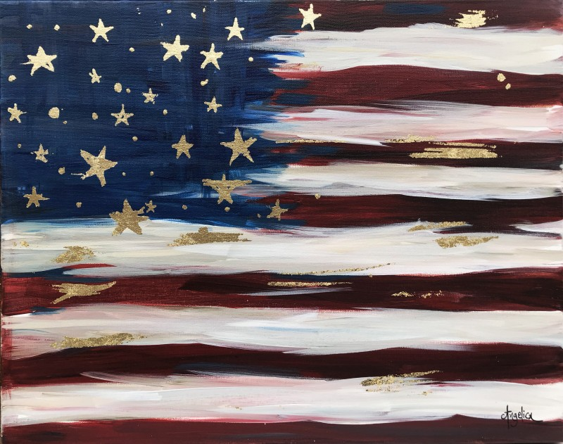 Vintage Flag with Gold Leaf - In Studio Class