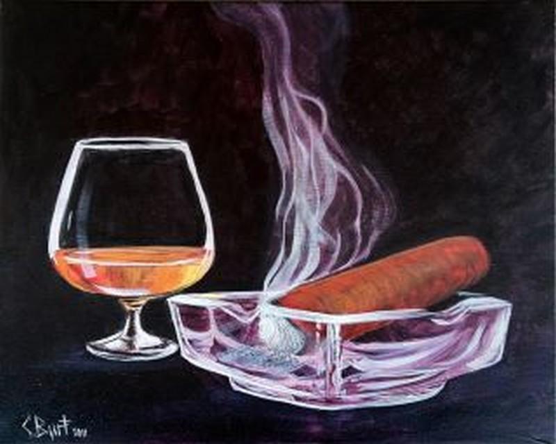 Cigar & Brandy - Virtual Class & Paint Kit