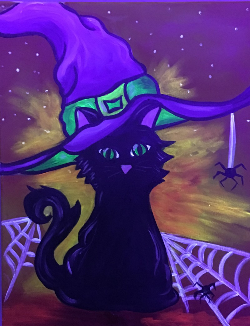 "$27 BLACKLIGHT ""Kids Witch Kitty"" 11am-12:30pm"