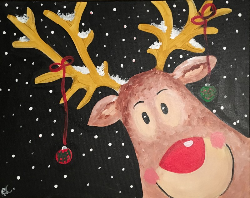 Happy Reindeer Canvas: In Studio Class!